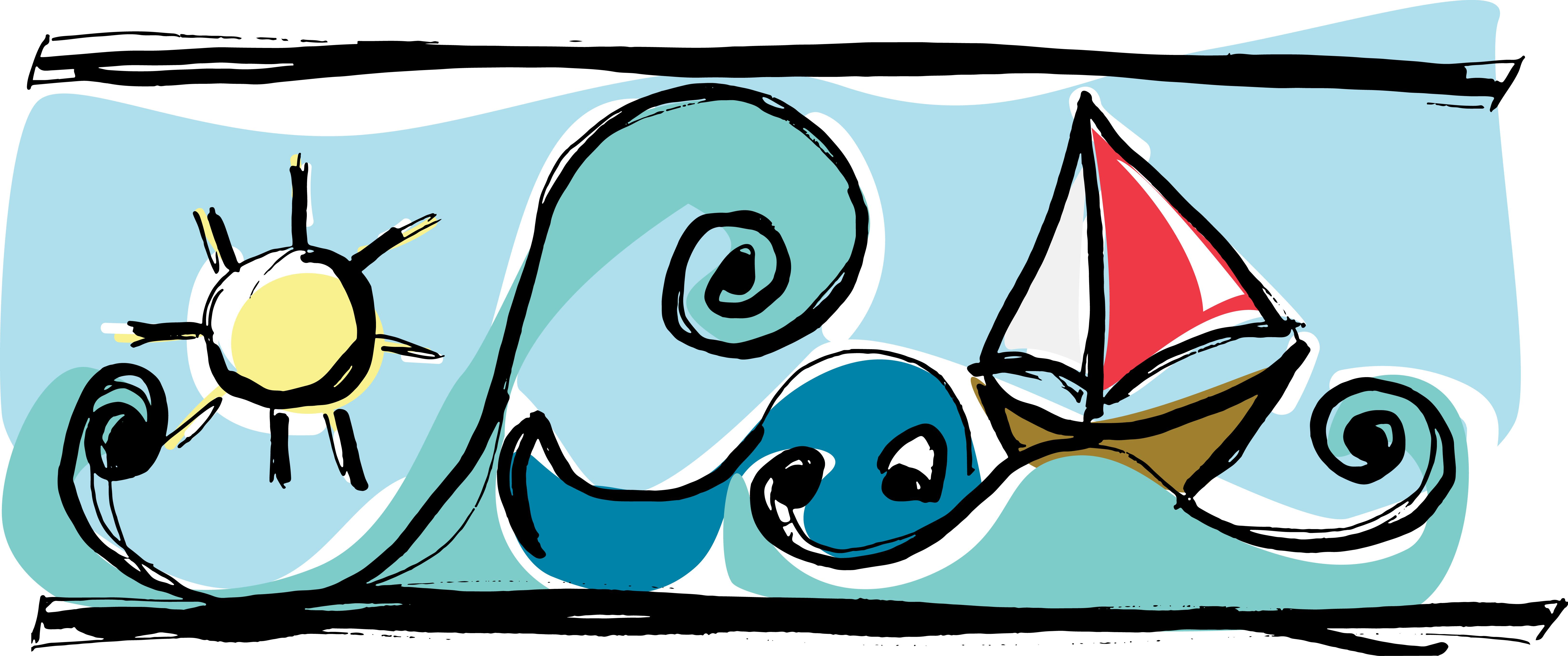 Sun, Boat, Whale Sketch