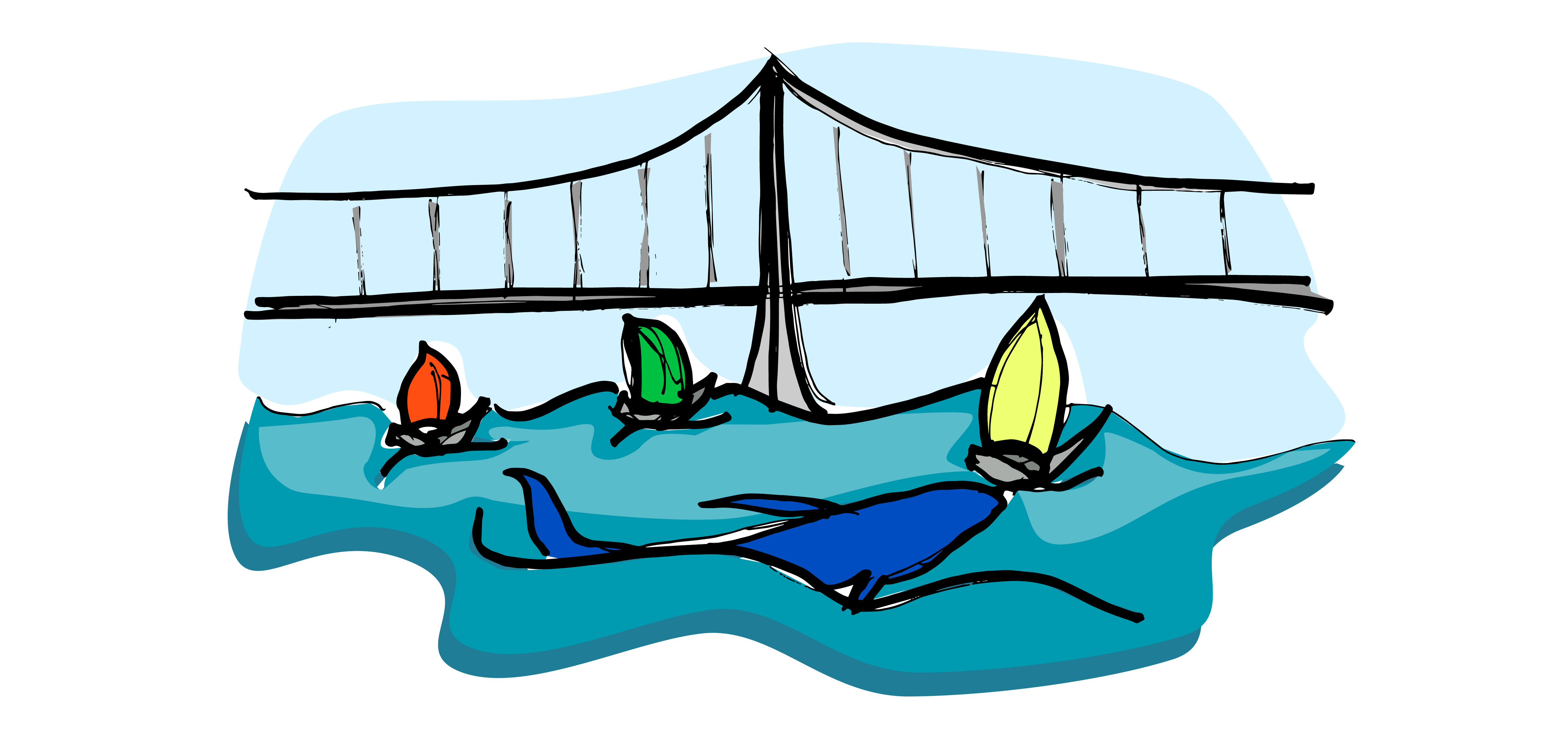 Sketch of Bay Bridge, Sailboats and Whale