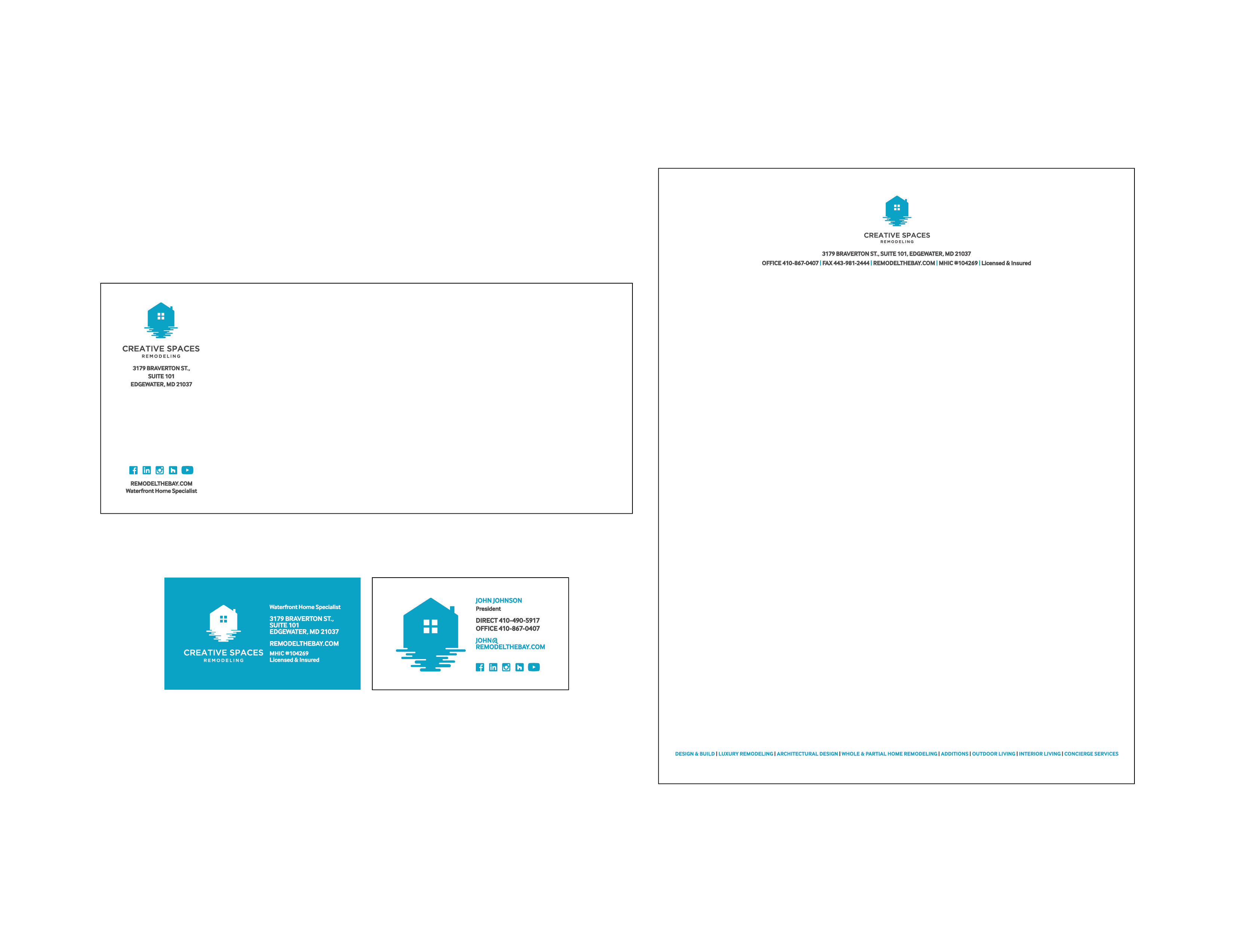 Creative Spaces Business Cards, Letterhead and Envelopes