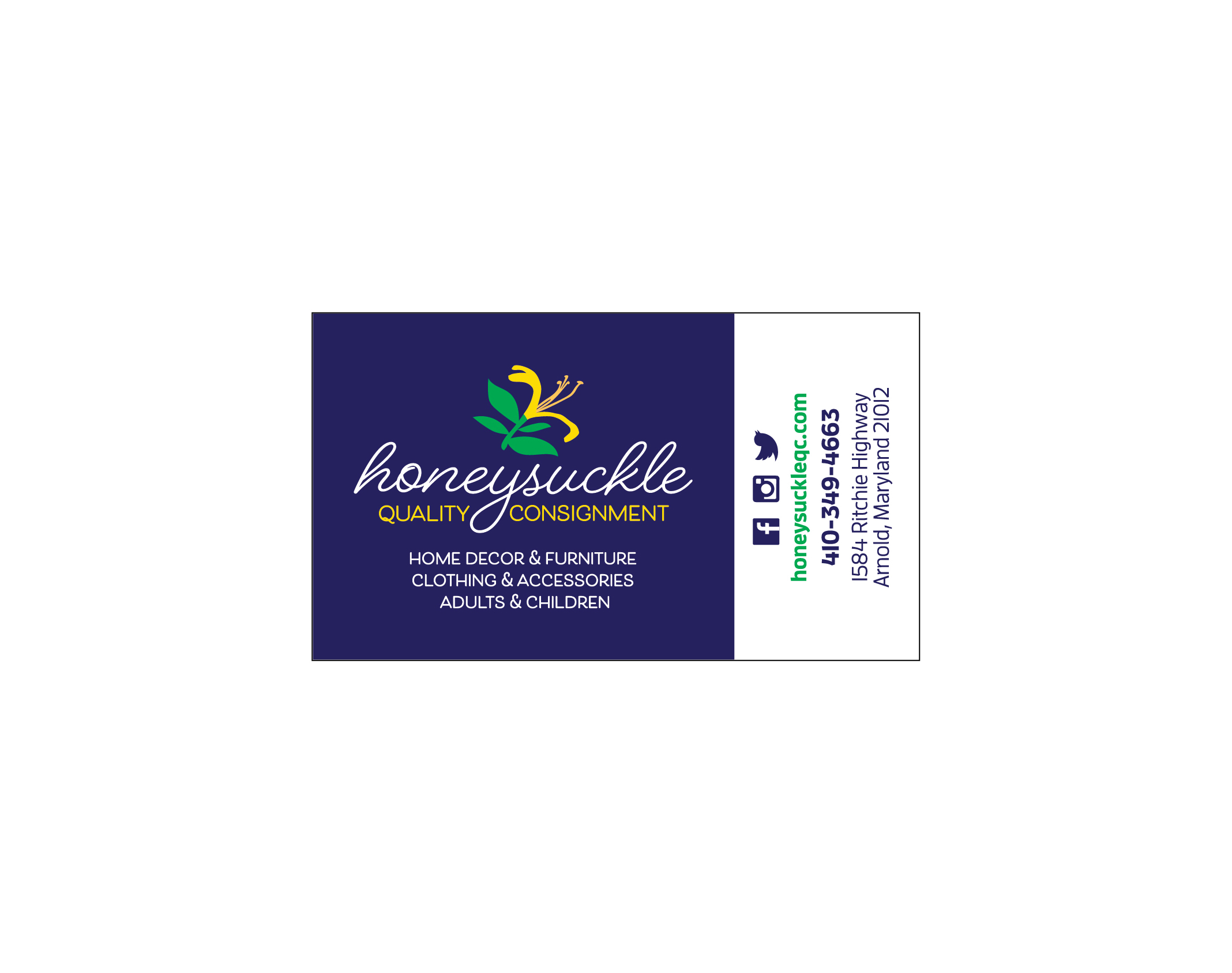 Honeysuckle Quality Consignment Business Card