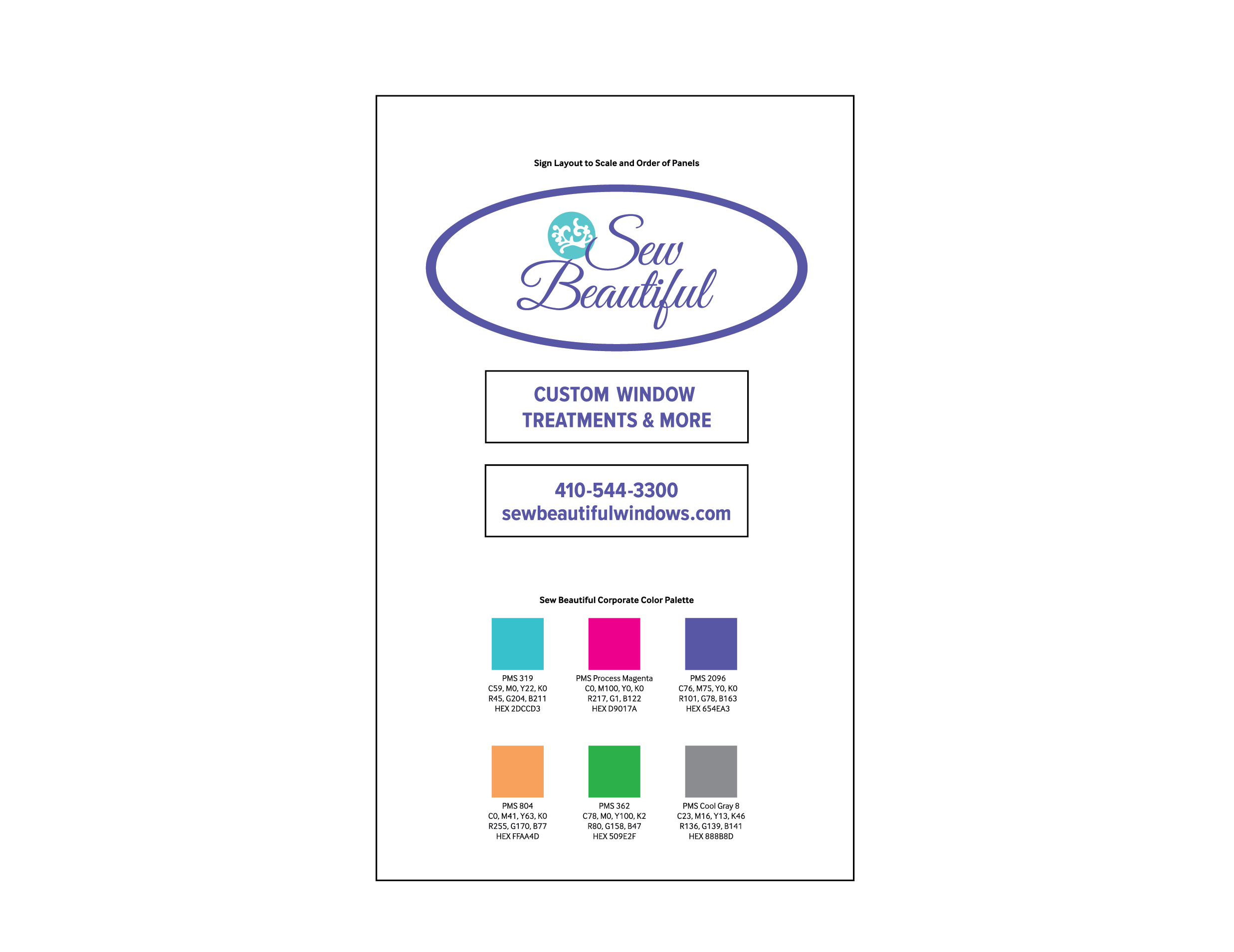Sew Beautiful Sign Specs and Palette