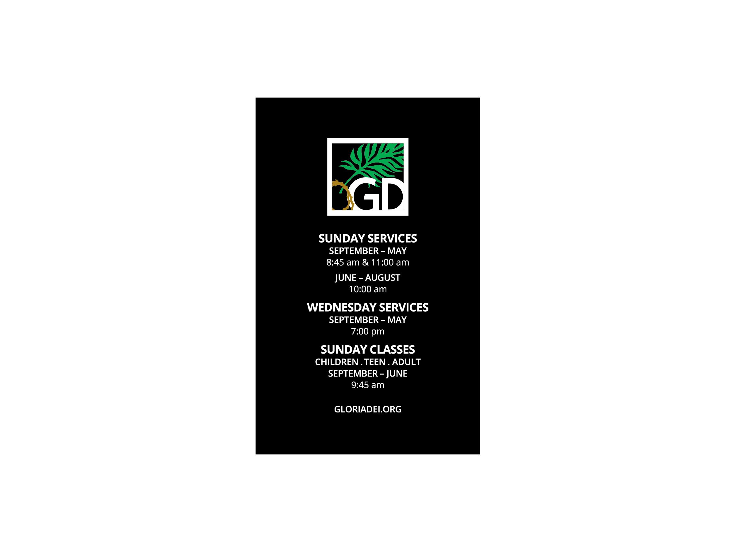Gloria Dei Business Card Back