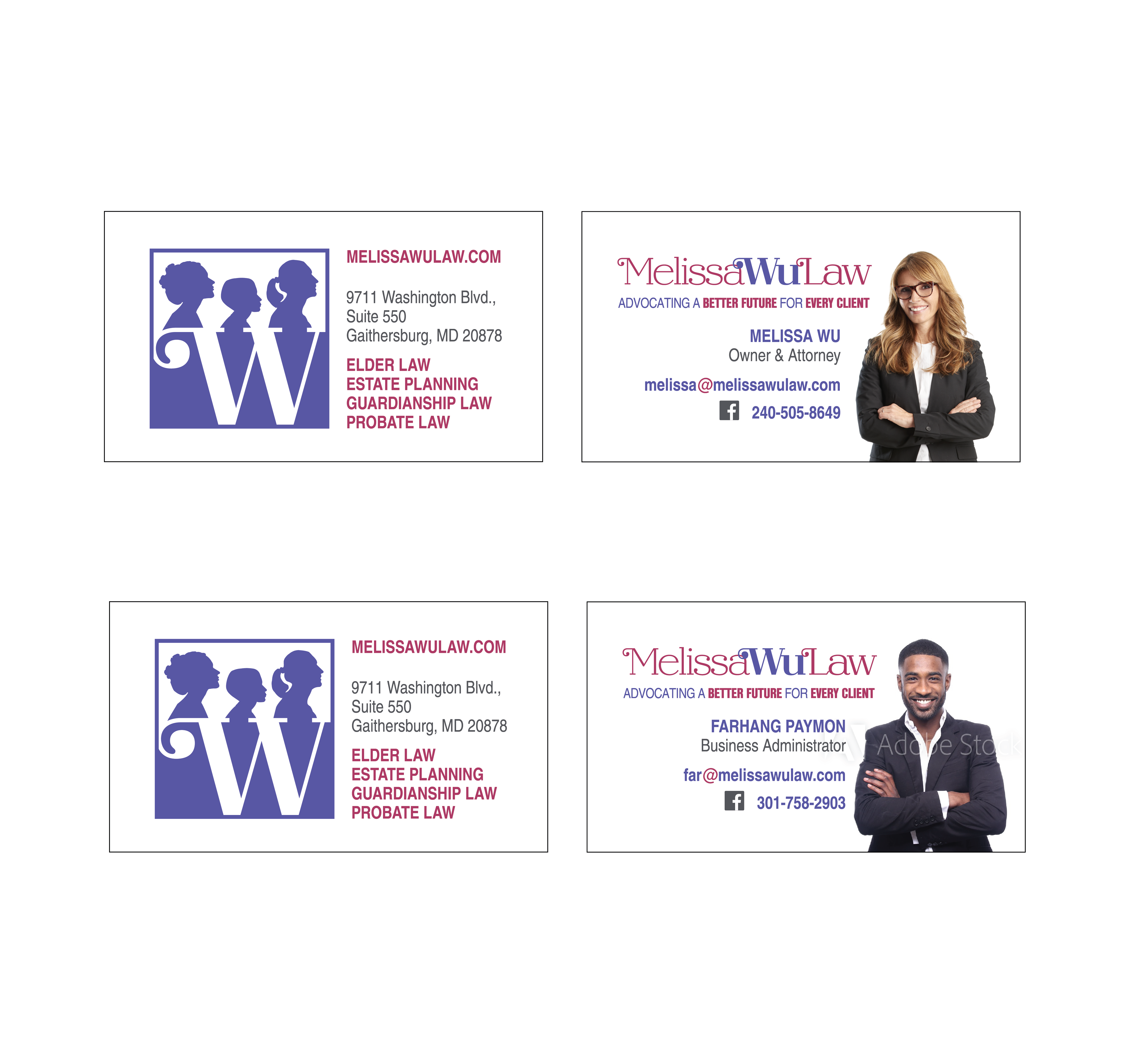 Melissa Wu Law Business Card Design Layout