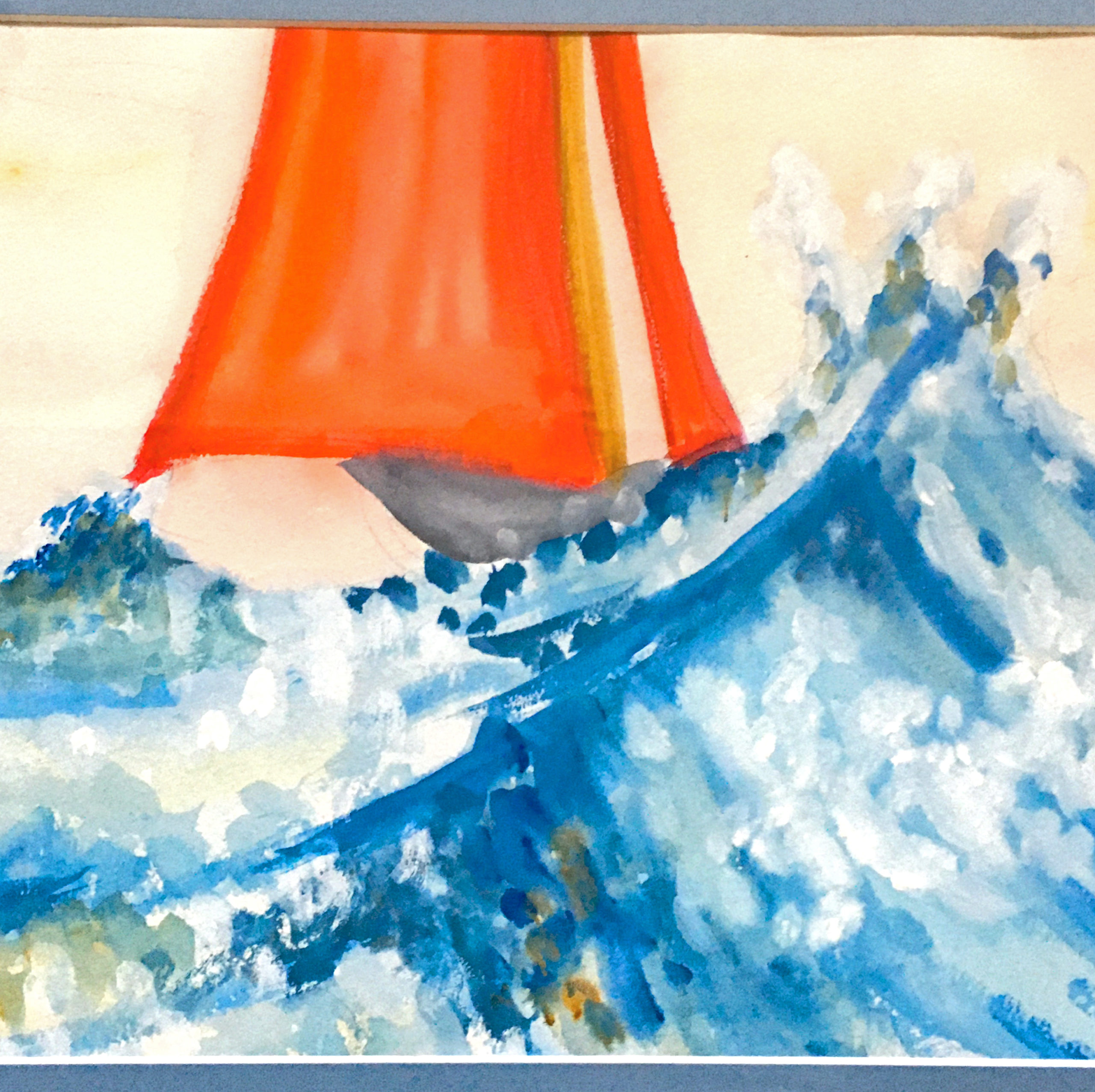 © Whale Works Design & Illustration; Watercolor Painting Boat With Red Sail