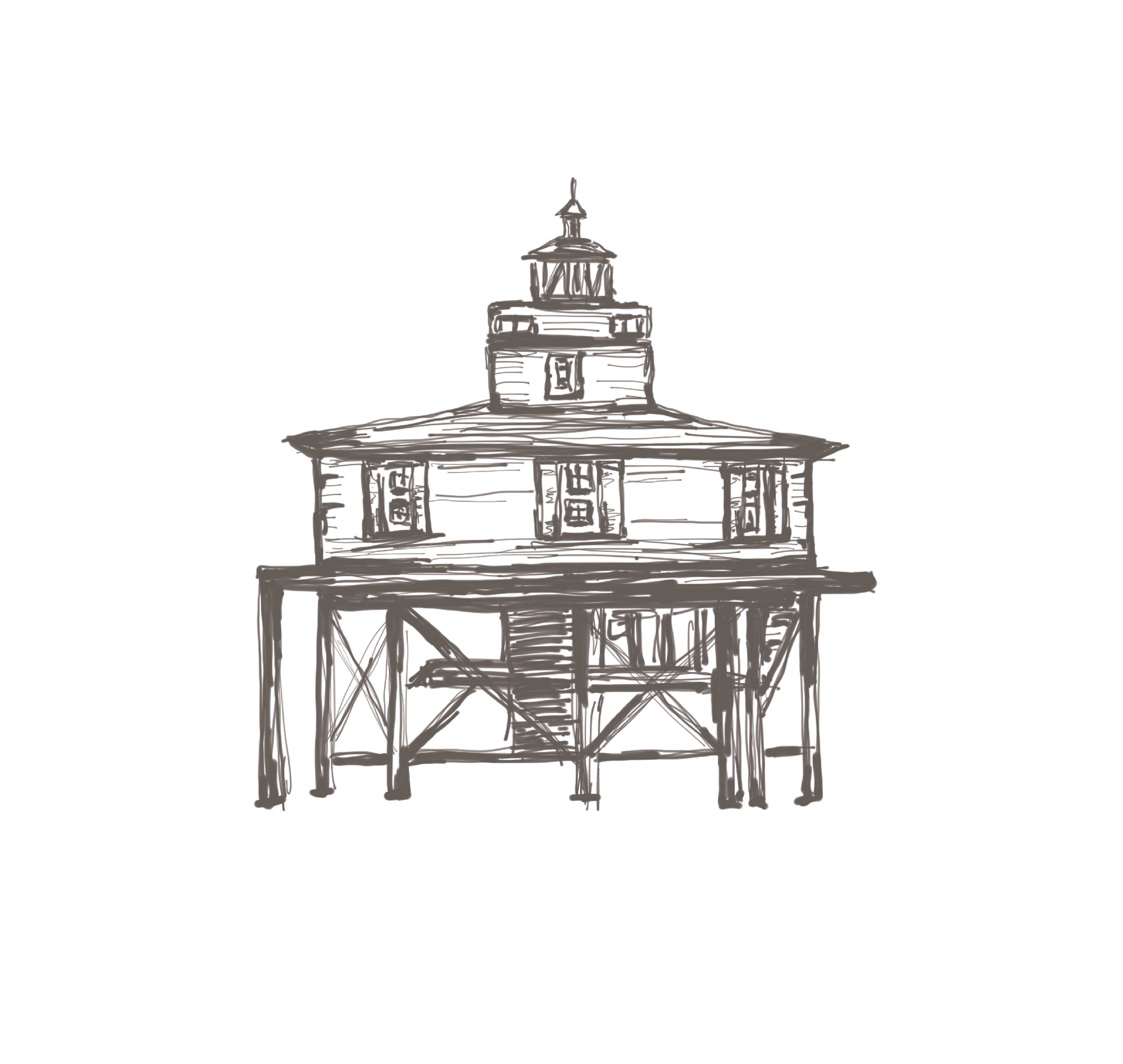 Adobe Draw with iPencil on iPad, Seven Foot Knoll Lighthouse for Wedding Invitation