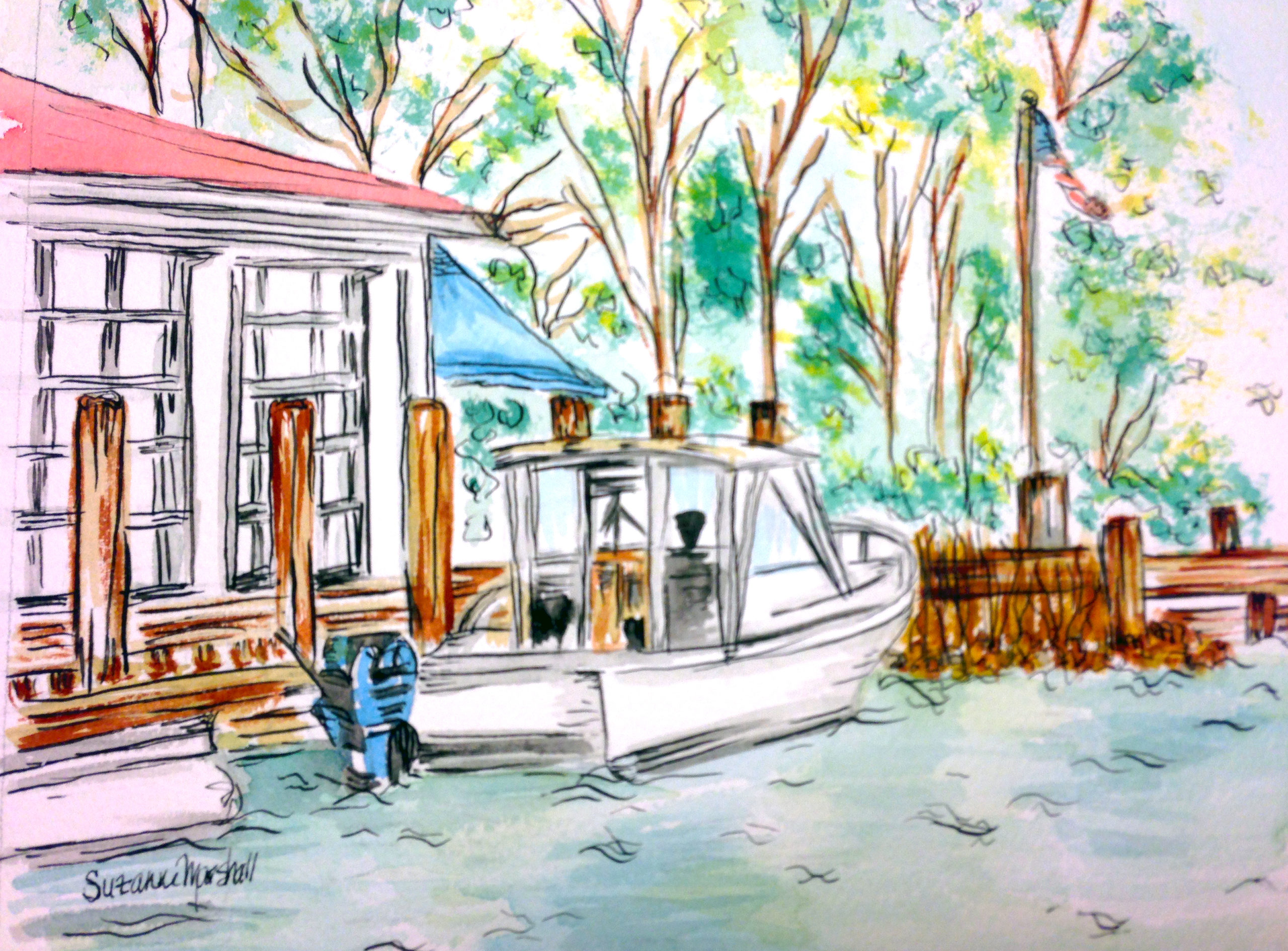 Watercolor and Pen-and-Ink of The Point Restaurant for the Greater Severna Park and Arnold Chamber Business and Community Guide Book Cover